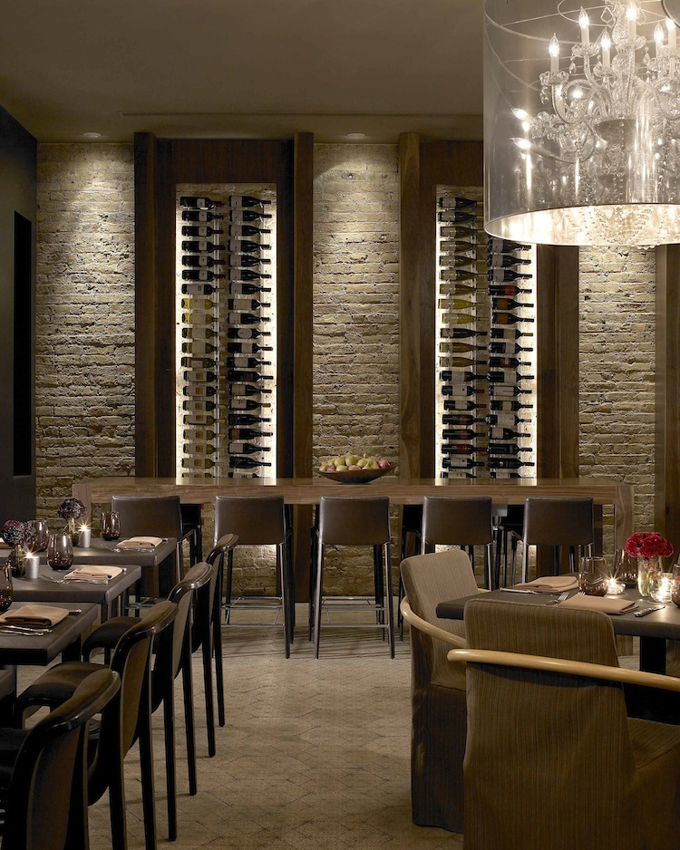 Restaurant wine wall kelly braun design